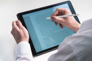 reading on a tablet